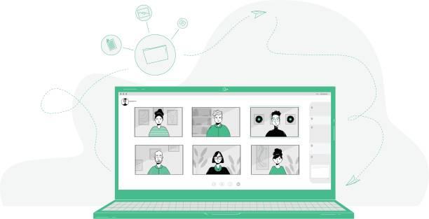stockillustraties, clipart, cartoons en iconen met 20200331_ill_workfromhomevector - corona scherm