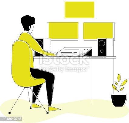 istock 20200331_ILL_WorkFromHomeVector_VideoEditorWorkspace 1218040745