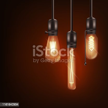 Set of 3d different shaped glowing light bulbs hanging on wires realistic style, vector illustration isolated on dark background. Retro incandescent Edison lamps design for loft or vintage interior