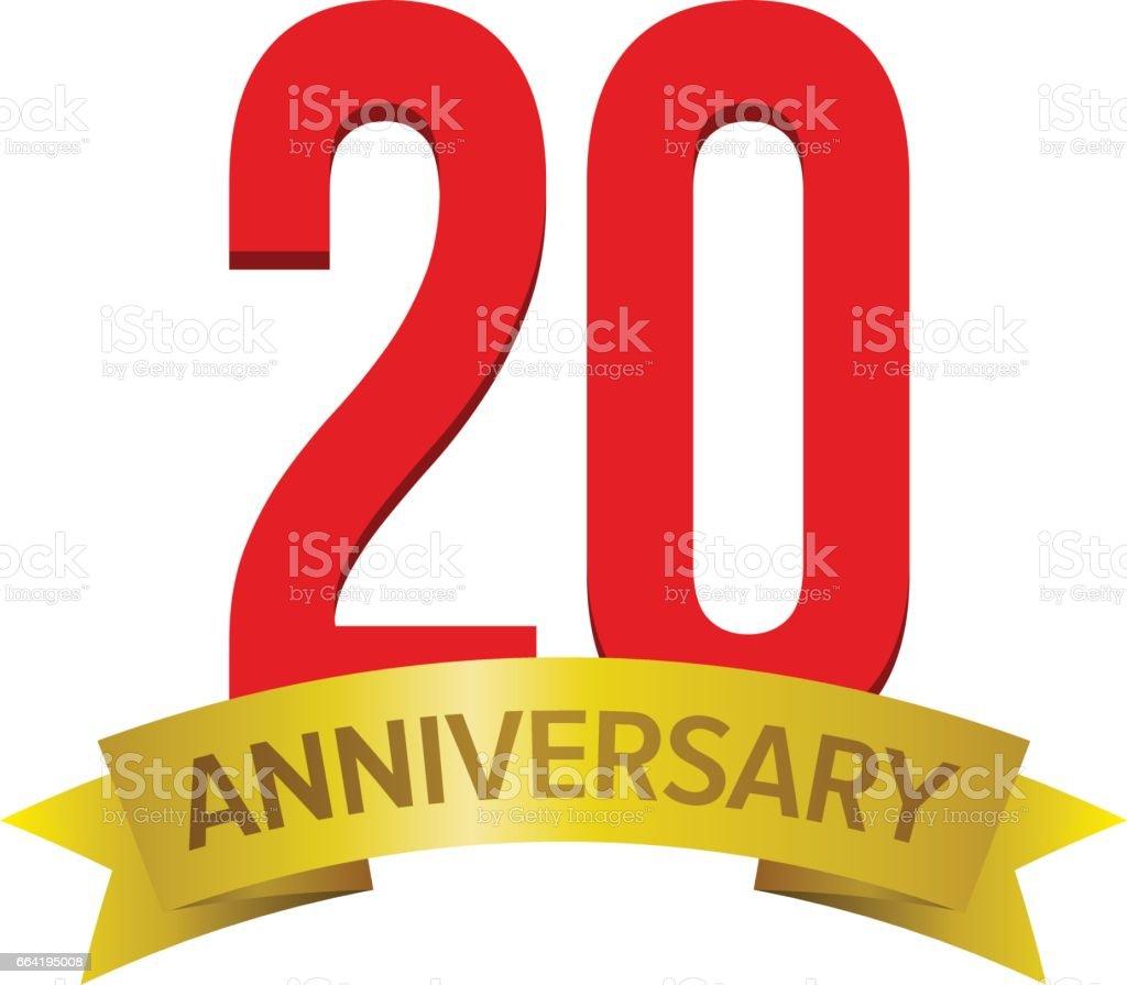 20th anniversary logo vector art illustration