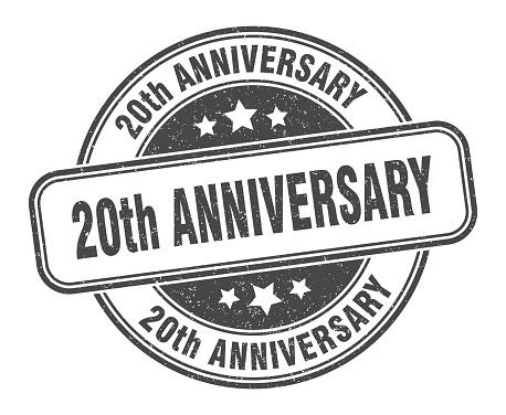 20th anniversary stamp. 20th anniversary round grunge sign. label