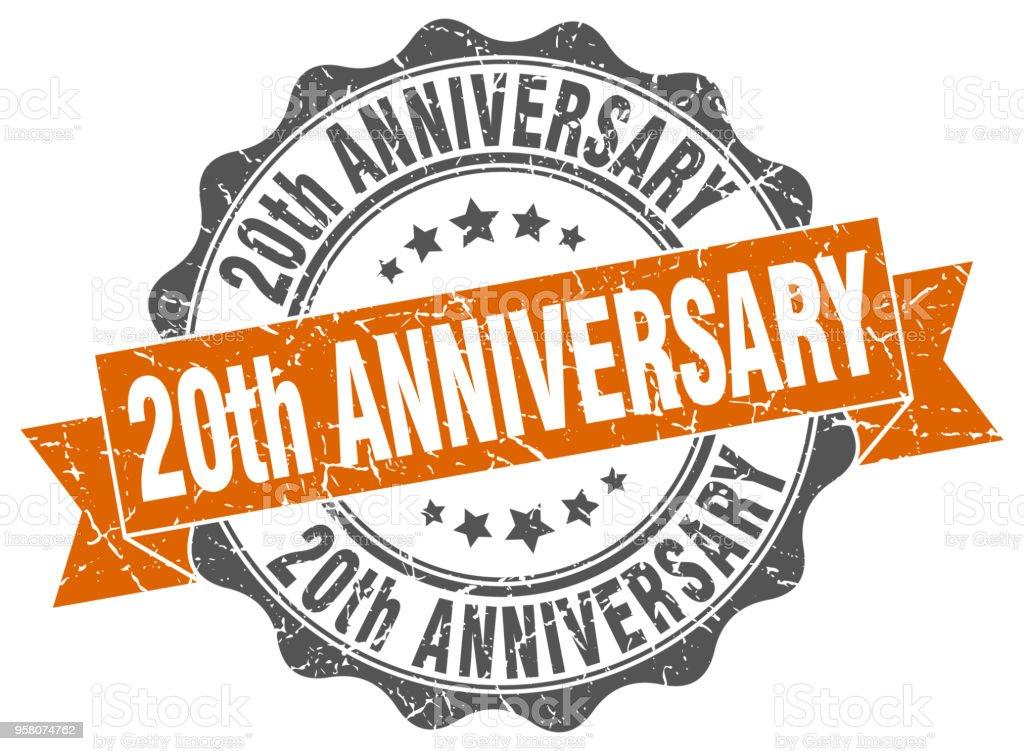 20th anniversary stamp. sign. seal vector art illustration