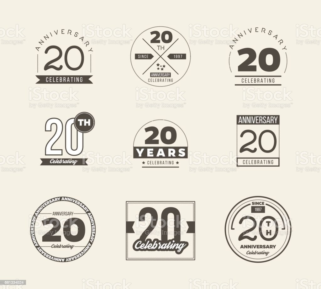 20th Anniversary Vintage Symbol Set 20 Years Symbols Stock Vector