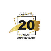 20th golden anniversary logo celebration with frame and hand drawn ink brush gold ribbon. Vector template element for your 20 birthday party poster greeting card on white background and black number.