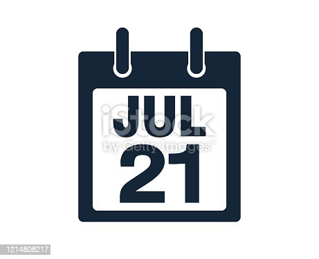 July twenty first calendar date icon stock vector illustration