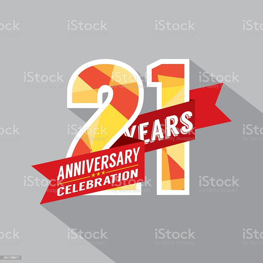 21th Years Anniversary Celebration Design vector art illustration