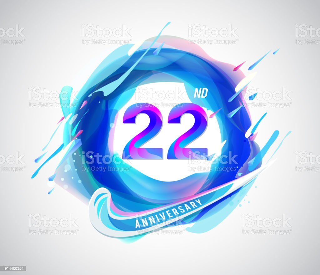 22nd colorful anniversary symbol abstract liquid color elements