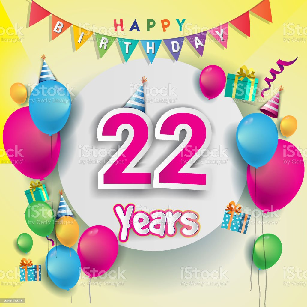 22nd Years Anniversary Celebration Birthday Card Or Greeting Card ...