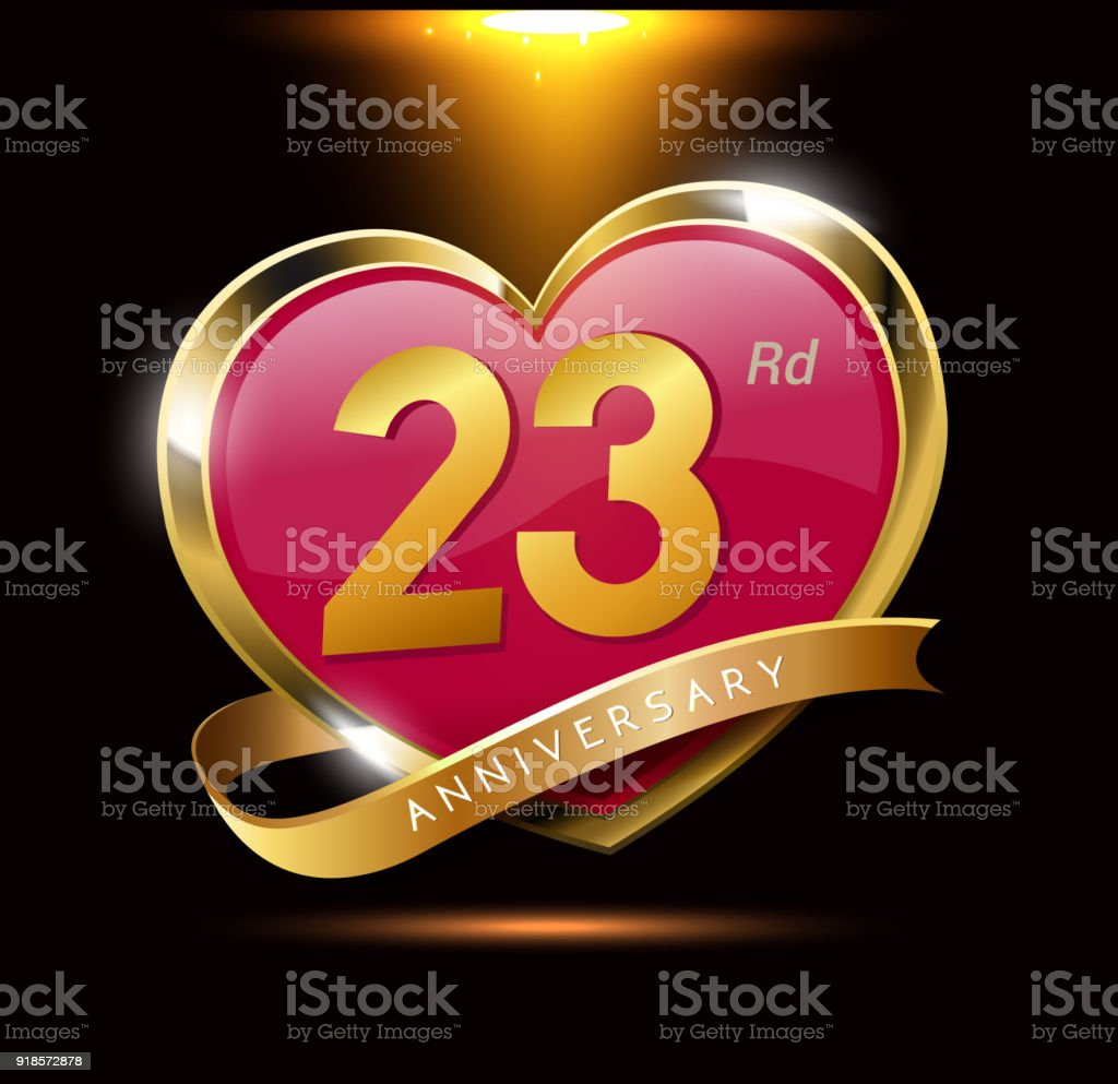 23rd Love Anniversary With Shiny Gold On Black Background Heart