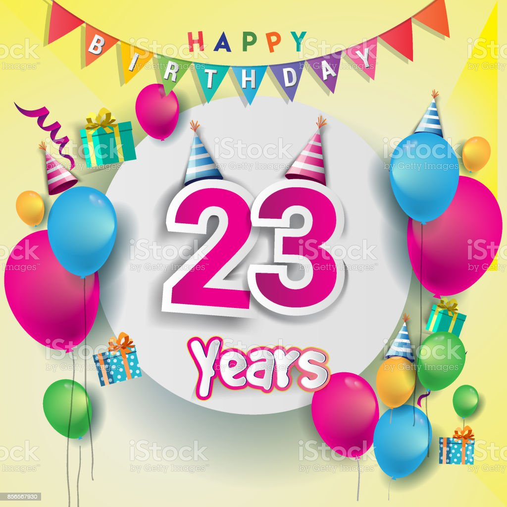23rd Years Anniversary Celebration Birthday Card Or Greeting Design With Gift Box And Balloons Colorful Vector Elements For The