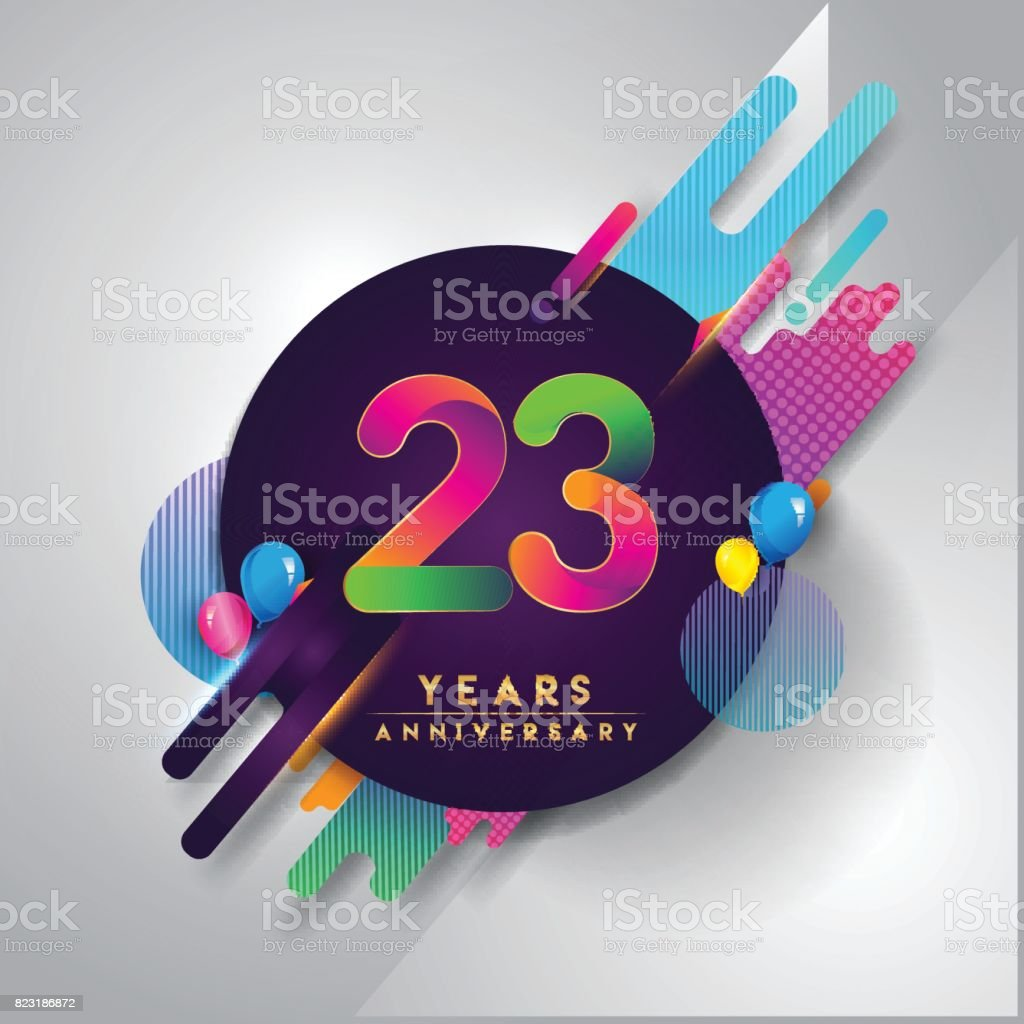 23rd Years Anniversary Symbol With Colorful Abstract Background