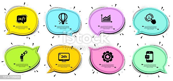 Air balloon, Dislike and Brand ambassador signs. Chat bubbles with quotes. 24h service, 24/7 service and Settings gear line icons set. Graph, Smartphone message symbols. Vector