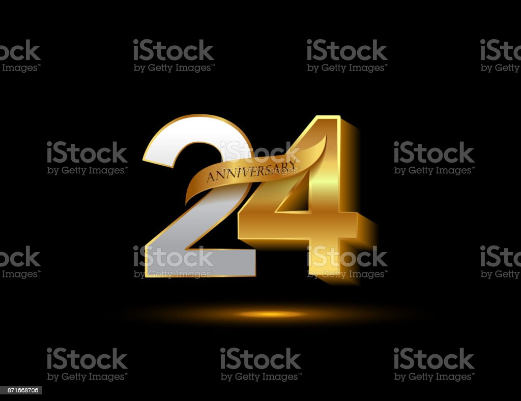 24th Anniversary Glowing Logotype With Ribbon Golden Colored