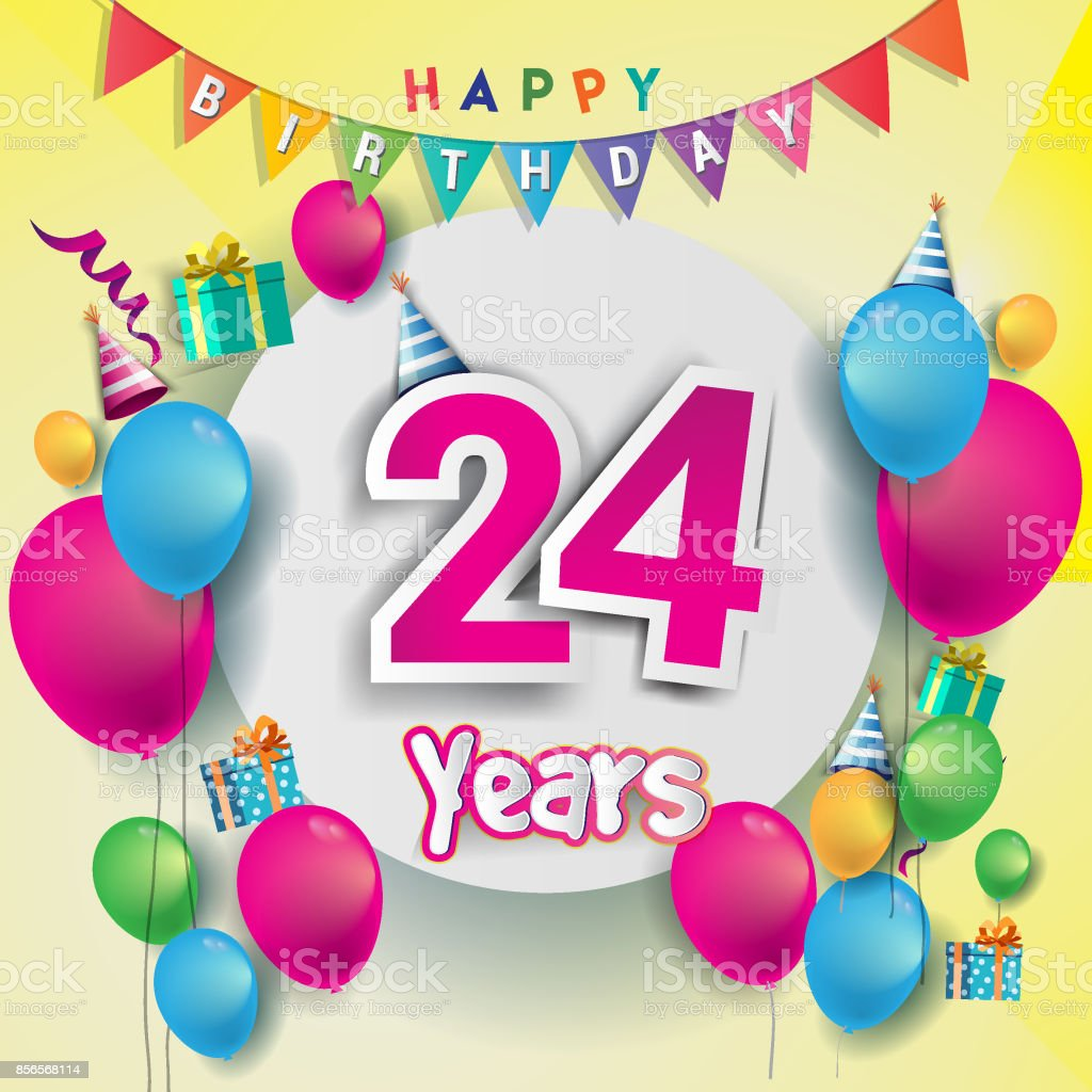 24th Years Anniversary Celebration Birthday Card Or Greeting Design With Gift Box And Balloons Colorful Vector Elements For The