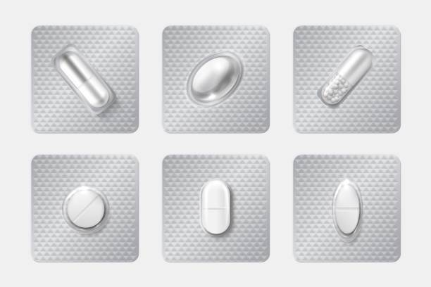 250719_Realistic pill blisters set. Medicine capsule and pills in blister pack. 3D drugs and vitamins isolated vector mockup Realistic pill blisters set. Medicine capsule and pills in blister pack. 3D illustration chemicals drugs and medicine vitamins isolated vector mockup pharmaceutical capsules aspirin stock illustrations