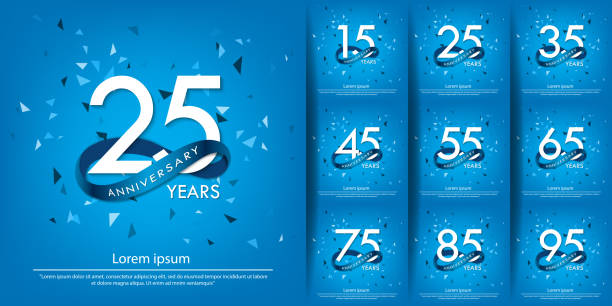 25th anniversary and set of anniversary celebration emblem. white anniversary logo isolated with blue circle ribbon. vector illustration template design for web, poster, flyers, greeting card and invitation card 25th anniversary and set of anniversary celebration emblem. white anniversary logo isolated with blue circle ribbon. vector illustration template design for web, poster, flyers, greeting card and invitation card greeting card with the 45th anniversary stock illustrations