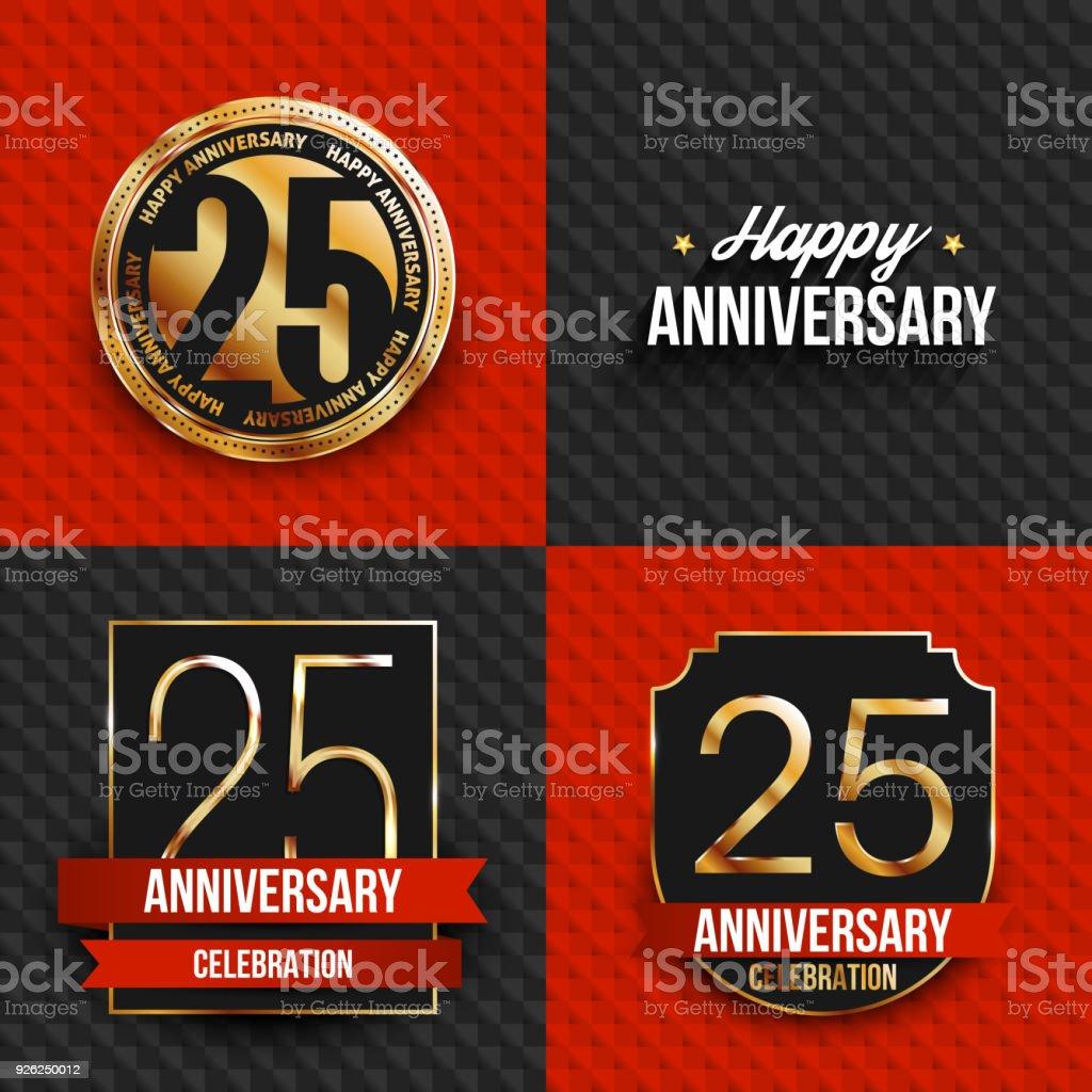 25. Geburtstag Banner auf schwarzen und roten Hintergrund. – Vektorgrafik