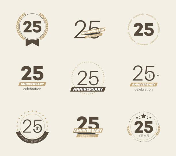 25th anniversary celebration  logo set. Vector illustration anniversary icons stock illustrations