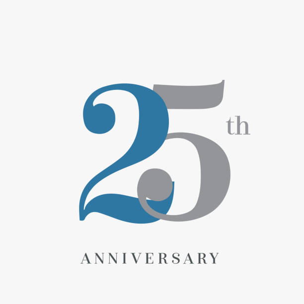 25th anniversary celebration overlapping number blue and grey simple logo, isolated on grey background vector art illustration