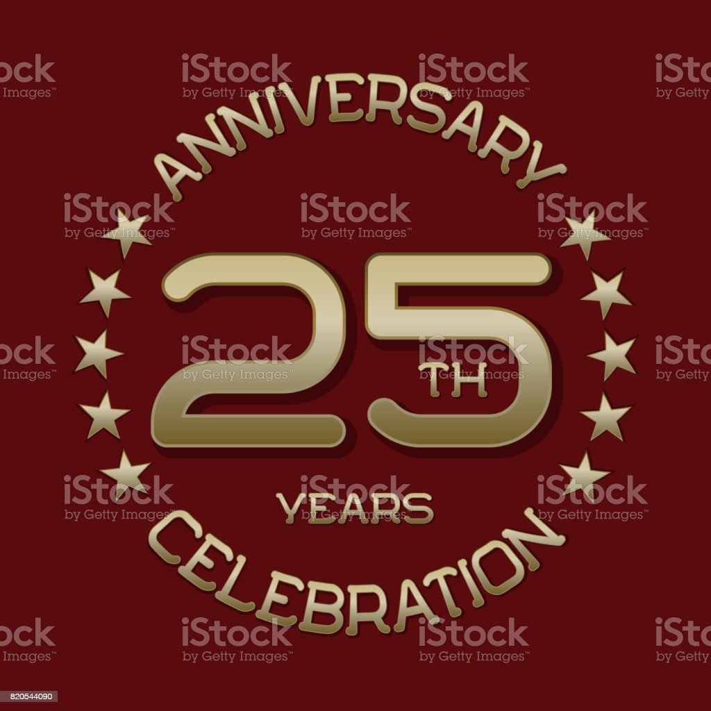 25th Anniversary Celebration Symbol Golden Circular Editable Emblem ...