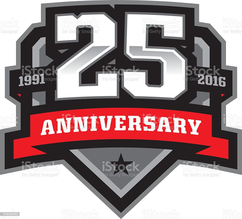 25th Anniversary Crest vector art illustration