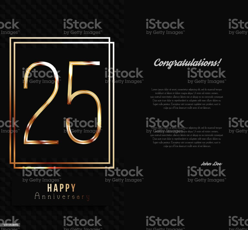 25th Anniversary Decorated Invitation Card Template Stock