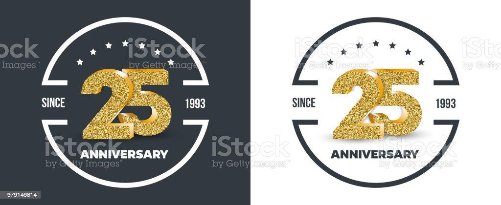 25. Jubiläum Gold farbigen Logo auf dunklen und weißen Hintergrund. 25 - Jahr-Jubiläum-Banner. – Vektorgrafik