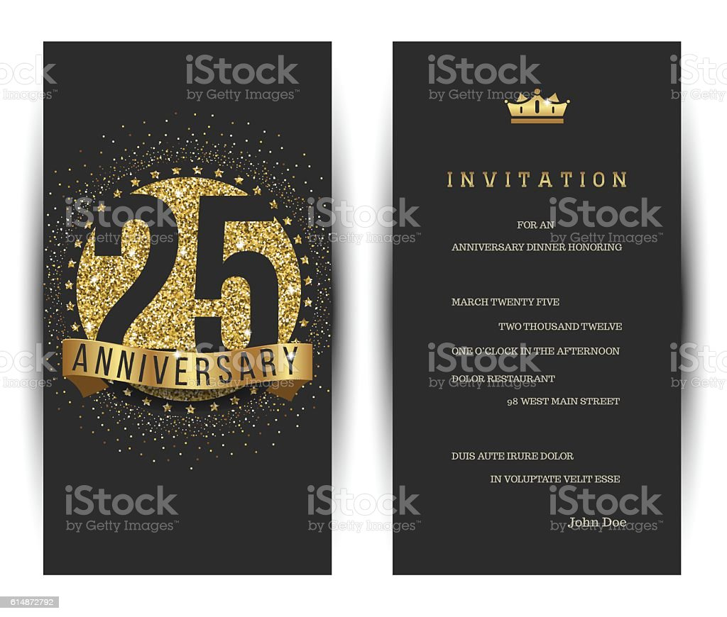 25th Anniversary Invitation Card With Golden Logo Stock