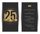 25th anniversary invitation card with golden logo.