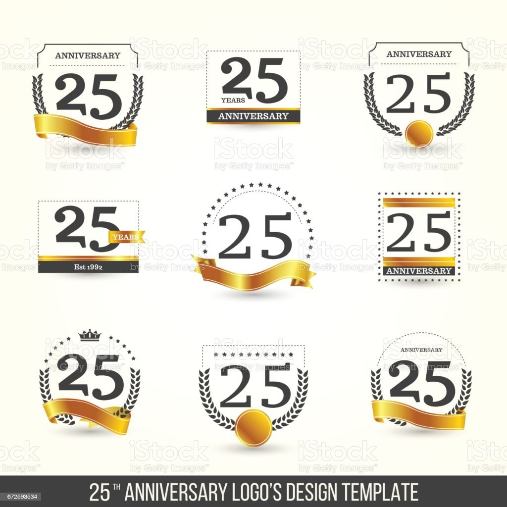 25th anniversary logo set with gold elements. vector art illustration