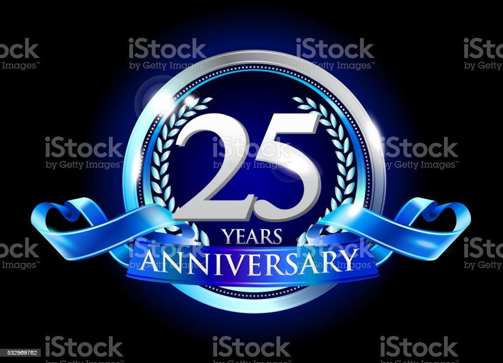 25th anniversary logo with blue ribbon stock vector art more 25th anniversary logo with blue ribbon royalty free 25th anniversary logo with blue ribbon stock altavistaventures Image collections