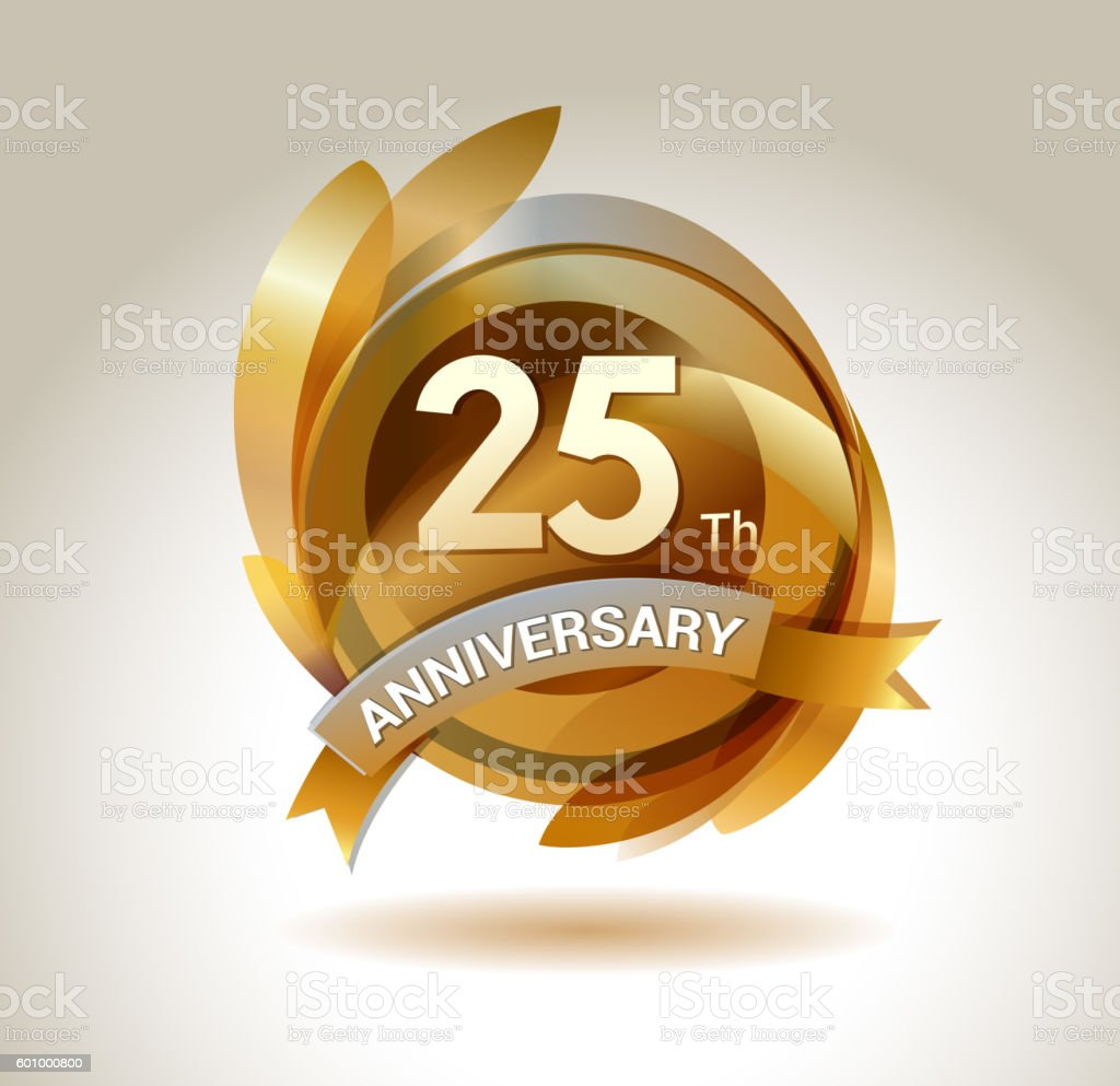 25th anniversary ribbon logo with golden circle and graphic elements - illustrazione arte vettoriale