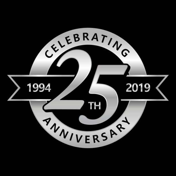 bildbanksillustrationer, clip art samt tecknat material och ikoner med 25-års jubileum symbol - årsdag