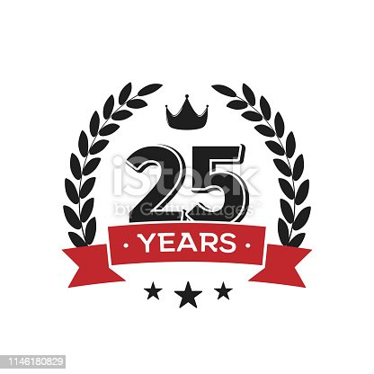 25th birthday vintage label template Twenty fifth years anniversary retro isolated vector emblem with red ribbon and laurel wreath on white background