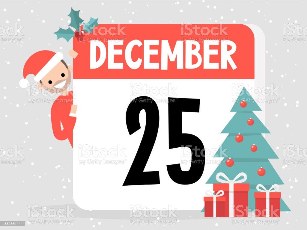 25. Dezember. Weihnachten. Junge Charakter tragen Weihnachtsmütze und spähen heraus von hinten den eingerichteten Kalender. Flach bearbeitbares Vektor-Illustration, ClipArt – Vektorgrafik