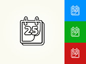 25th on Calendar Black Stroke Linear Icon. This royalty free vector illustration is featuring a black outline linear icon on a light background. The stroke is editable and the width of the line can be easily adjusted. The icon can also be converted to have a black fill color. The download includes 3 additional versions of this icon on blue, green and red background.