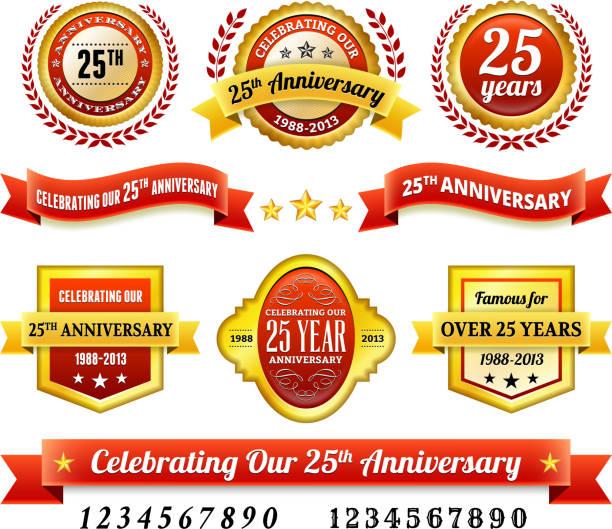 bildbanksillustrationer, clip art samt tecknat material och ikoner med 25th year anniversary badges red and gold set - 25 29 år