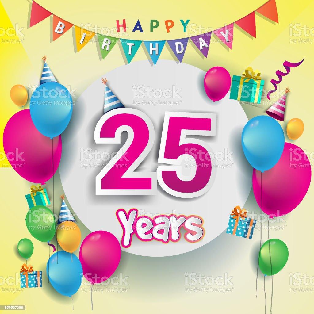 Betere 25 Jaar Anniversary Celebration Verjaardagskaart Of Wenskaart PU-93