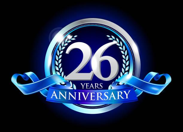 bildbanksillustrationer, clip art samt tecknat material och ikoner med 26th anniversary logo with blue ribbon - 25 29 år