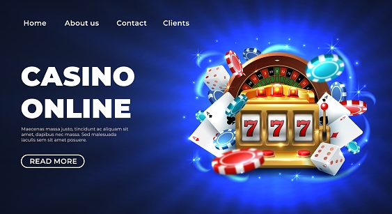 270519_Casino 777 slot machine landing page template. Gambling roulette website big lucky prize, realistic 3D vector illustration