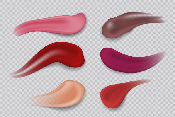 270719_lipstick smudge. realistic make-up product. lipsticks 3d strokes. vector illustration - błyszczyk stock illustrations