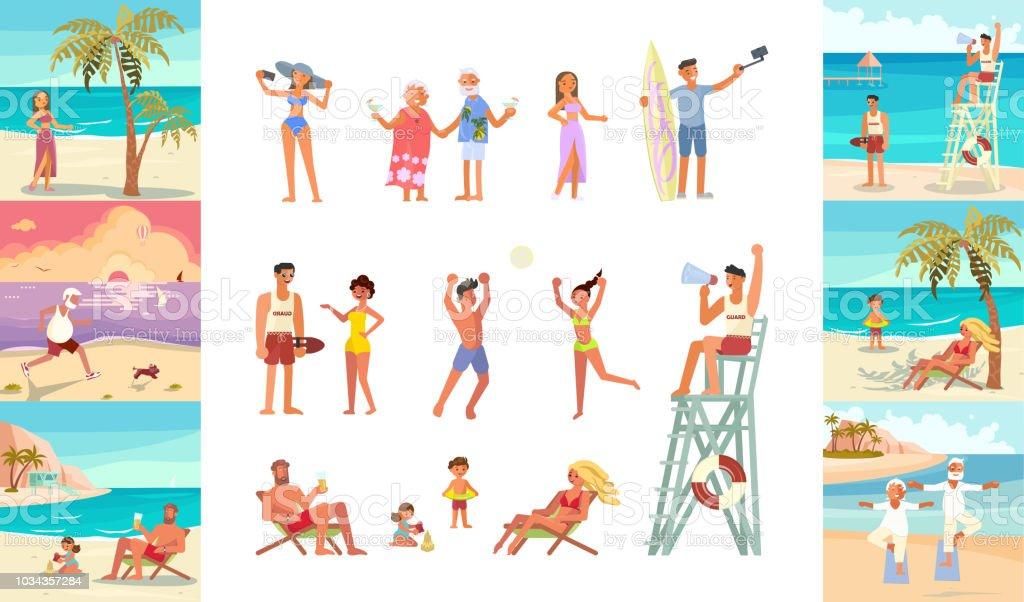 2734_people on beach vector art illustration