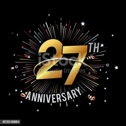 Anniversary fireworks and celebration background - stock vector