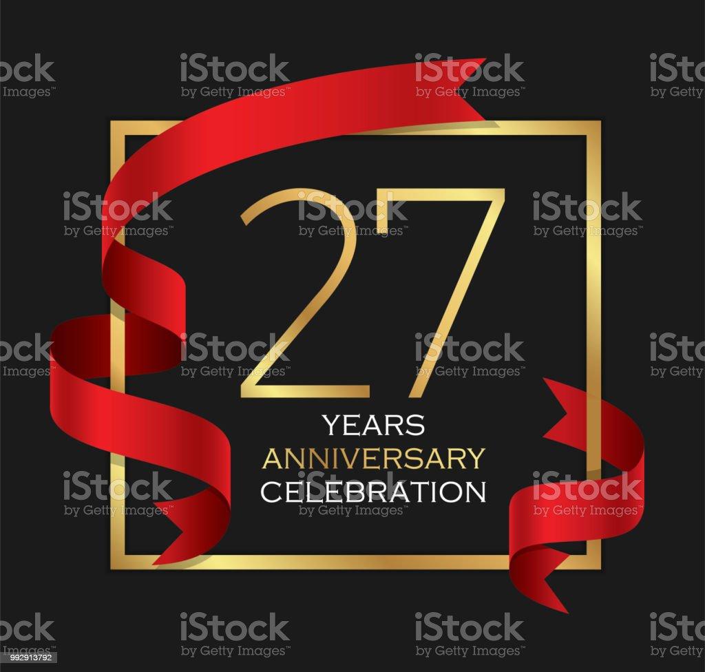 27 Jaar Verjaardag Viering Achtergrond Stockvectorkunst En Meer