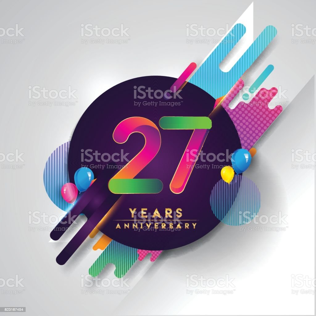 27th years anniversary symbol with colorful abstract background 27th years anniversary symbol with colorful abstract background royalty free 27th years anniversary symbol with biocorpaavc Images