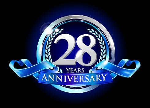 28th anniversary logo with blue ribbon