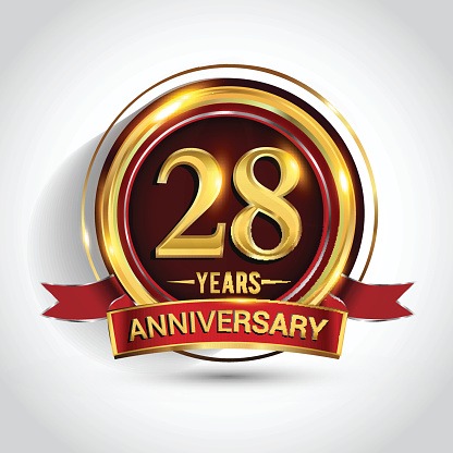 28th golden anniversary logo with ring and red ribbon isolated on white background