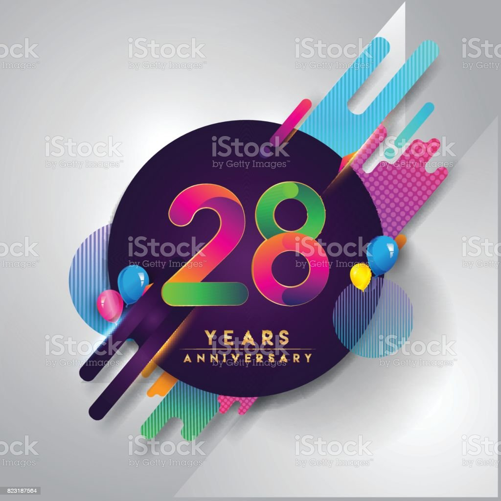 28th years anniversary symbol with colorful abstract background 28th years anniversary symbol with colorful abstract background royalty free 28th years anniversary symbol with biocorpaavc Gallery