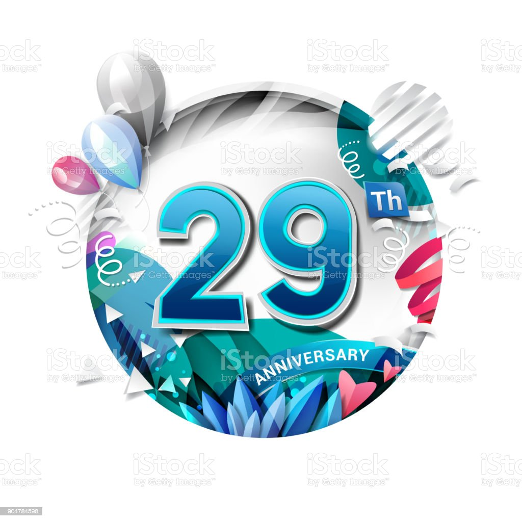 29th anniversary background with balloon and confetti on white. 3D paper style illustration. Poster or brochure template. Vector illustration. vector art illustration
