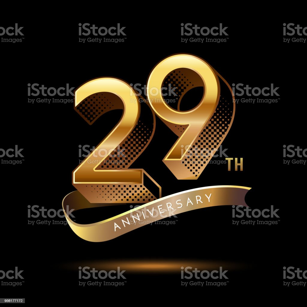 29th Anniversary celebration logotype colored with shiny gold, using ribbon and isolated on black background vector art illustration